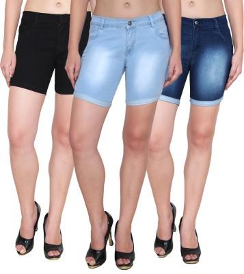 Ansh Fashion Wear Solid Women's Blue, Black Denim Shorts