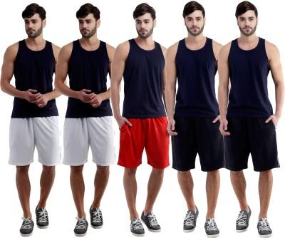Dee Mannequin Self Design Men's White, White, Red, Black, Black Sports Shorts
