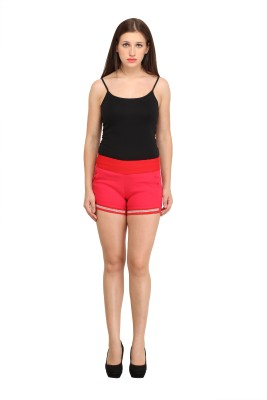 Star Style Self Design Women's Red Hotpants
