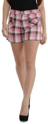 Purplicious Checkered Women's Pink, Grey, White Basic Shorts