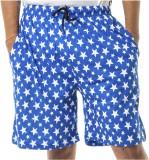 Shootr Printed Men's Dark Blue Bermuda S...