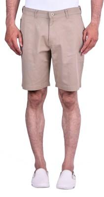 Cortos Solid Men's Beige Denim Shorts