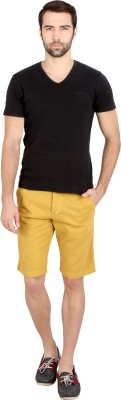 Caricature Solid Men's Yellow Basic Shorts