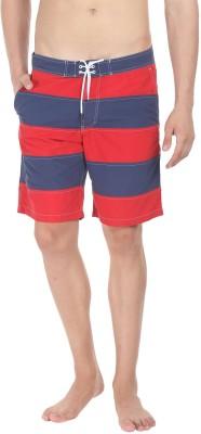 Zobello Self Design Mens Blue, Red Swim Shorts