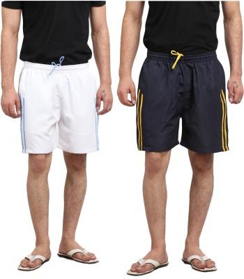 X-Cross Solid Men's White, Black Basic Shorts