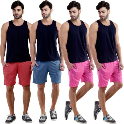 Dee Mannequin Self Design Men's Red, Dark Blue, Pink, Pink Sports Shorts
