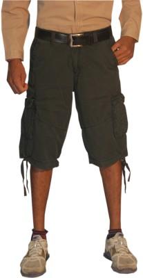 Madcaps Solid Men's Dark Green Cargo Shorts