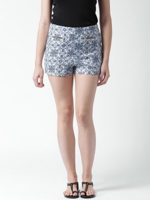 Mast & Harbour Printed Women's White Denim Shorts at flipkart