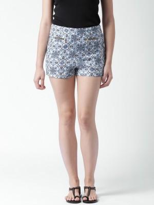 Mast & Harbour Printed Women's White Denim Shorts at flipkart