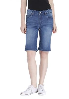 Only Solid Women's Blue Denim Shorts at flipkart