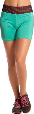 PrettySecrets Solid Women's Green Sports Shorts, Running Shorts, Gym Shorts at flipkart