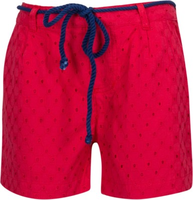 Miss Alibi by Inmark Self Design Girl's Red Basic Shorts