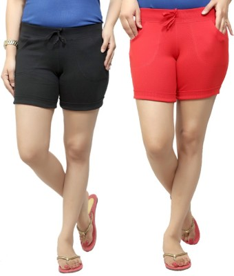 By The Way Solid Women's Black, Red Basic Shorts, Beach Shorts, Cycling Shorts, Night Shorts