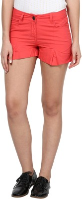 Species Solid Women's Red Basic Shorts