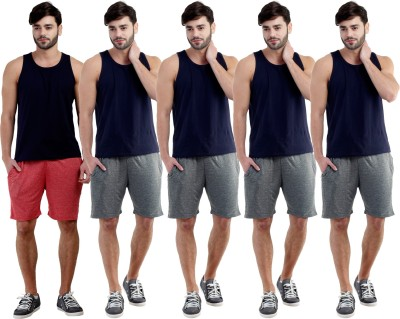 Dee Mannequin Self Design Men's Red, Grey, Grey, Grey, Grey Sports Shorts