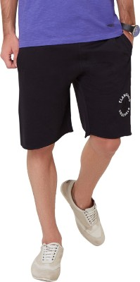Elaborado Embroidered Men,s Black Basic Shorts