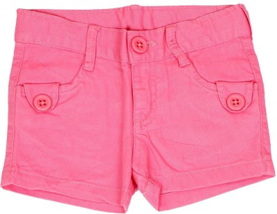 Dreamszone Solid Girl's Pink Denim Shorts