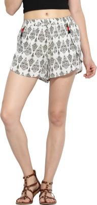 Paprika Printed Women's White, Green Culotte Shorts