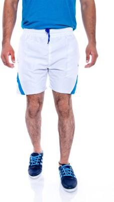 Choice4U Solid Men's Reversible White, Blue Sports Shorts