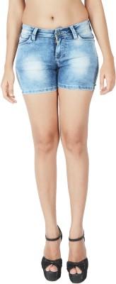 Integriti Solid Women's Blue Denim Shorts
