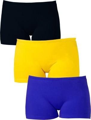 Softrose Solid Women's Black, Dark Blue, Yellow Sports Shorts