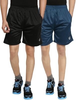 Forever19 Solid Men's Blue, Black Gym Shorts, Basic Shorts