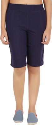 NOTYETbyus Solid Women's Dark Blue Cycling Shorts