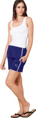 Sweet Dreams Solid Women's Blue Sports Shorts