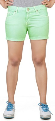 Klorophyl Woven Women's Green Basic Shorts