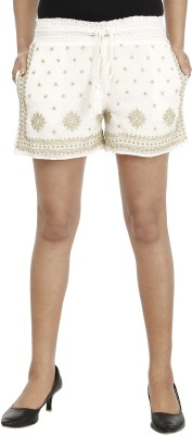 Miway Embroidered Women's Gold, White Basic Shorts
