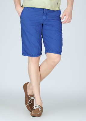 Breakbounce Solid Mens Blue Basic Shorts