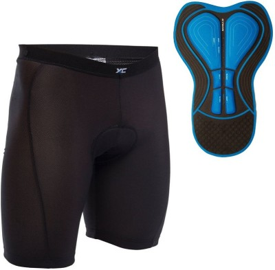 Btwin Solid Men's Black Cycling Shorts