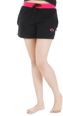 Nite Flite Solid Women's Black, Pink Night Shorts
