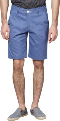 Haute Couture Solid Men,s Blue Chino Shorts