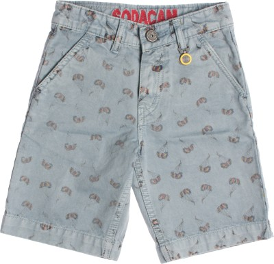 Sodacan Printed Boy's Grey Denim Shorts