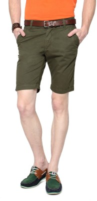 People Solid Men's Green Basic Shorts