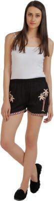 Holidae Embroidered Women's Black Basic Shorts