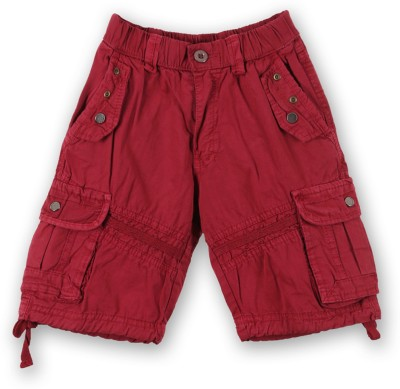 Lilliput Solid Boy's Red Cargo Shorts