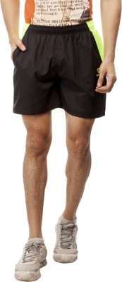 Gypsum Solid Men's Black, Yellow Sports Shorts