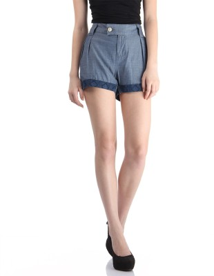 Pepe Jeans Solid Women's Blue Basic Shorts