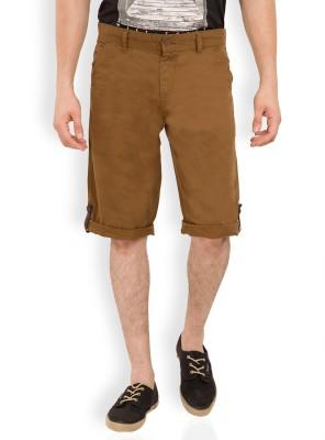 Locomotive Solid Men's Brown Bermuda Shorts