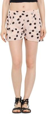 Trend Arrest Polka Print Women's Beige Beach Shorts