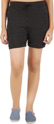 NOTYETbyus Printed Women's Black Basic Shorts