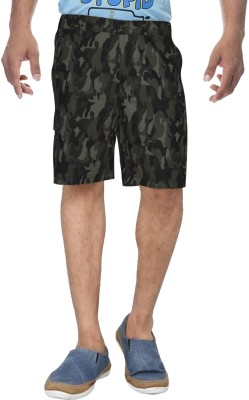 Clickroo Printed Men's Green Basic Shorts