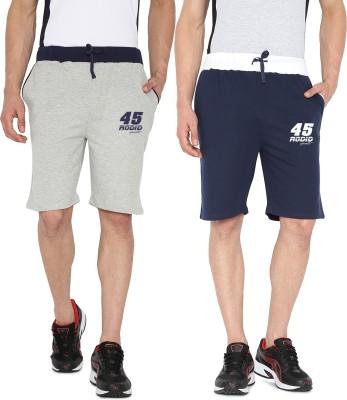 Rodid Solid Men's Grey, Blue Sports Shorts