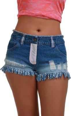 ITSHOT Self Design Women's Denim Blue Hotpants