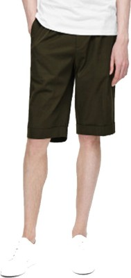 Cool Gene Solid Men's Green Night Shorts