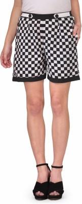 Natty India Checkered Women's Black, White Basic Shorts at flipkart