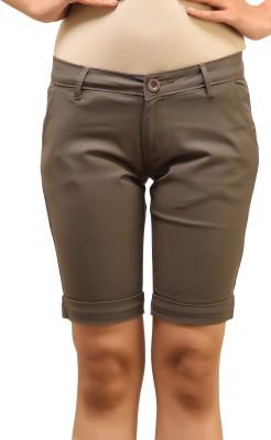 Adam n Eve Solid Women's Grey Basic Shorts