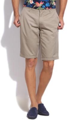 Flying Machine Solid Men's Beige Basic Shorts